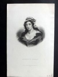 Bentley Temple Bar 1895 Antique Portrait. Charlotte Corday, French Journalist